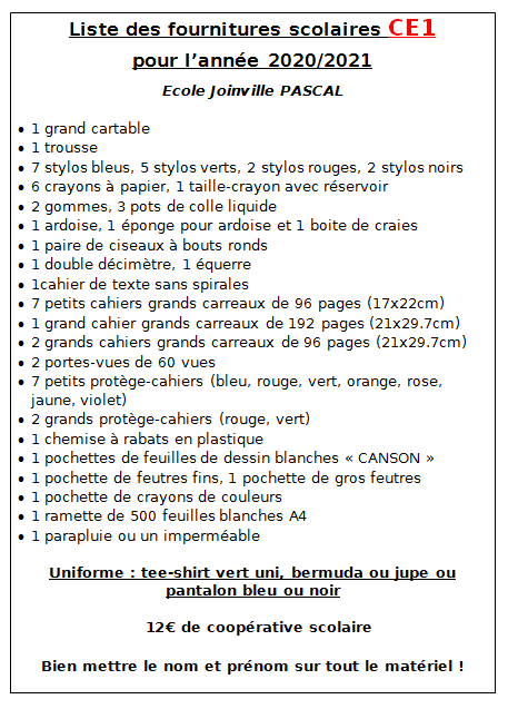 Liste_Fournitures_CE1_2020_2021_EEPU_Joinville_PASCAL