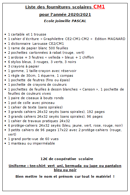 Liste_Fournitures_CM1_2020_2021_EEPU_Joinville_PASCAL