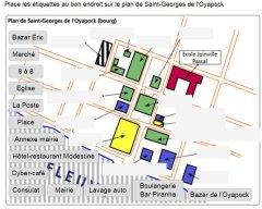 Se situer : légender le plan de Saint Georges de l'Oyapock (centre du bourg)